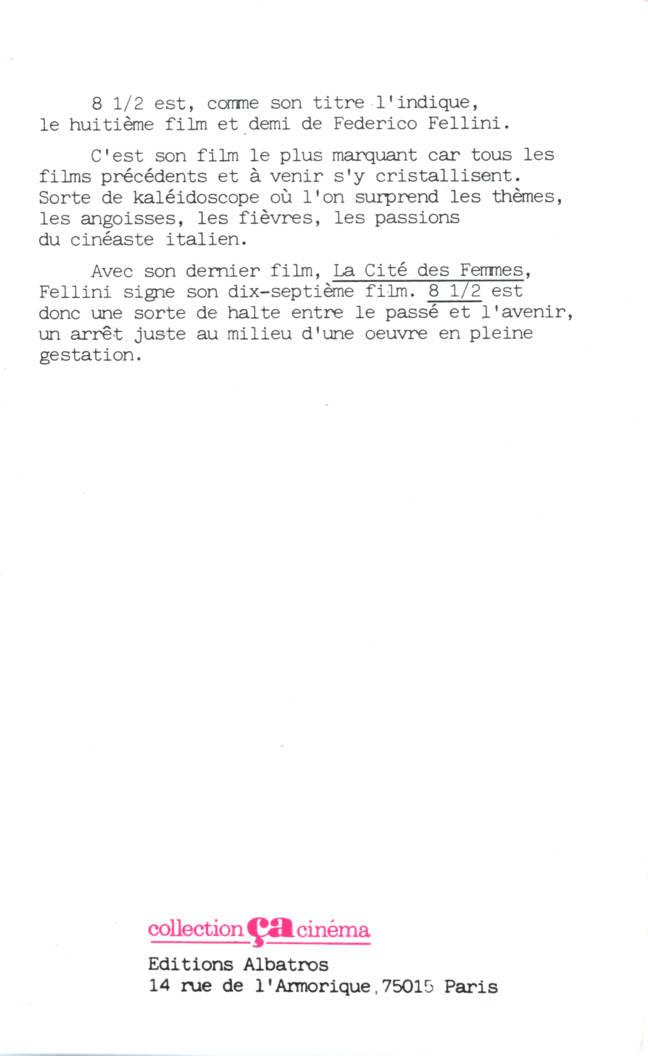 Federico Fellini 8 et demi 8 et demi Collection Ca Cinéma édition Albatros