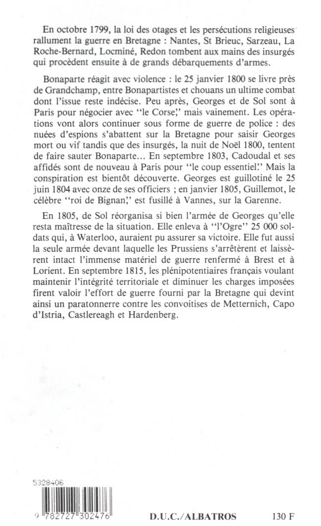 La résistance bretonne à Napoleon Bonaparte 1799-1815 edition Albatros