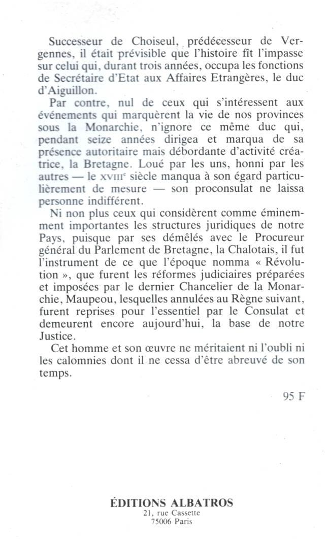 Le Duc d'aiguillon commandant en Bretagne édition Albatros