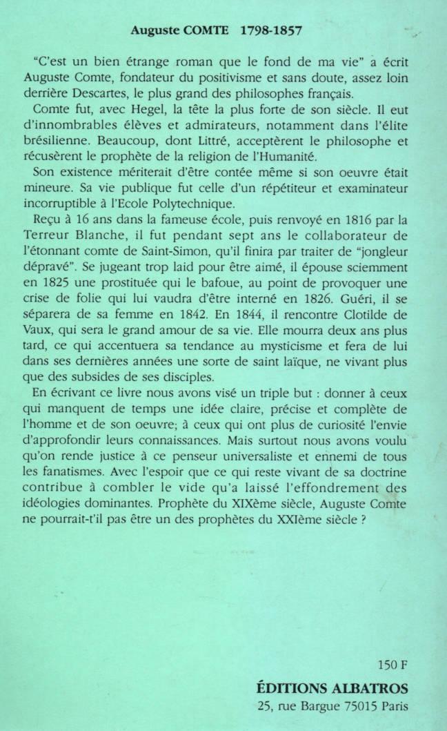 Auguste Comte prophète du XIX siècle par André Sernin éditions Albatros