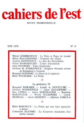 Revue des Cahiers de l'Est n°6 - été 1976 éditions Albatros