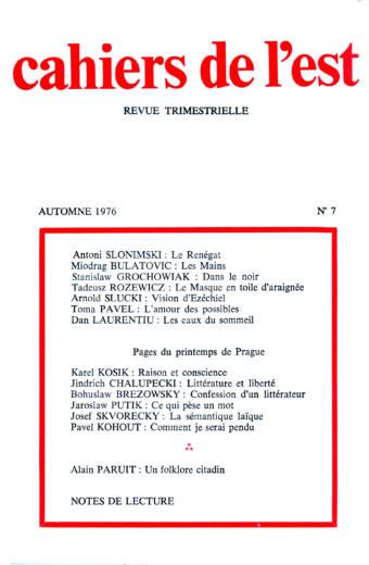 Revue des Cahiers de l'Est n°7 automne 1976