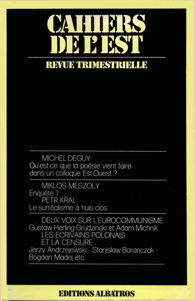 Revue des Cahiers de l'Est numéro double n°9 et n°10 éditions ALbatros