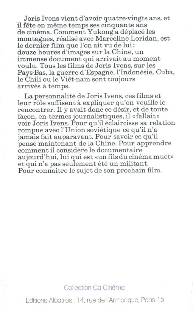 Entretiens avec Joris Ivens Collection Ça Cinéma édition Albatros