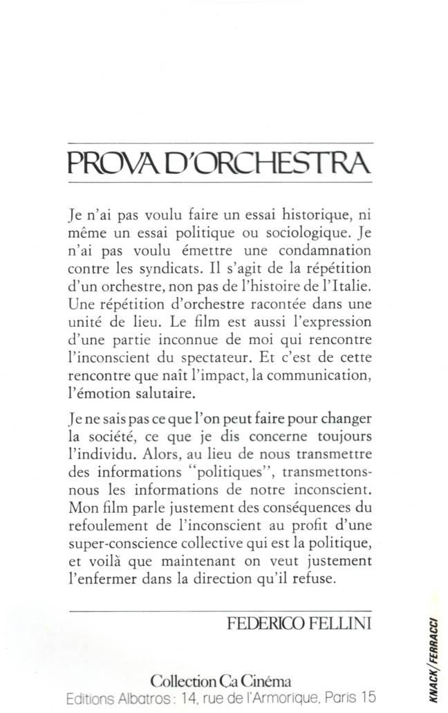 Federico Fellini Prova d'orchestra collection Ça Cinéma Edition Albatros