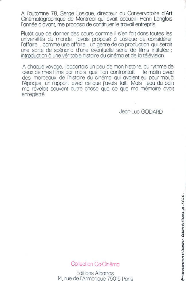 Introduction à une véritable histoire du cinéma par Jean-Luc Godard éditions Albatros