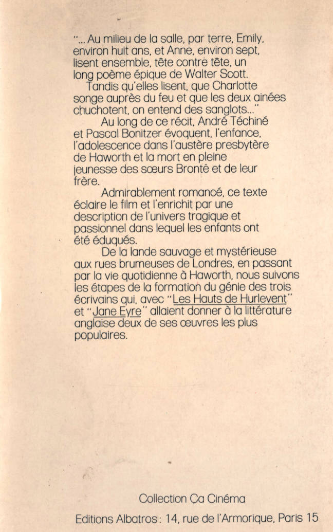 Les sœurs brontë d'André Téchiné éditions Albatros collection Ça Cinéma