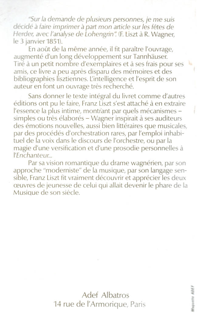 Lohengrin et Tannhauser de Franz Liszt éditions albatros
