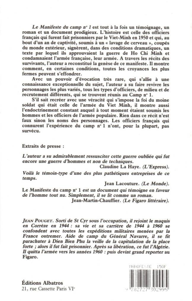 Le Manifeste du camp n°1 de Jean Pouget éditions Albatros