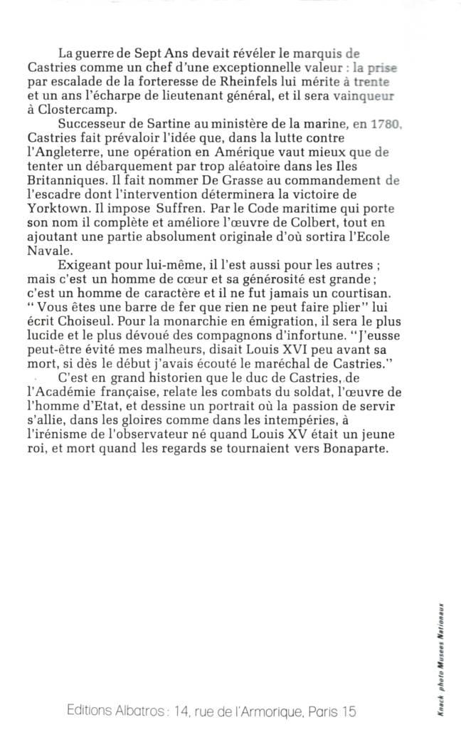 Le Maréchal de Castries par le Duc de Castries de l'Académie Française éditions Albatros