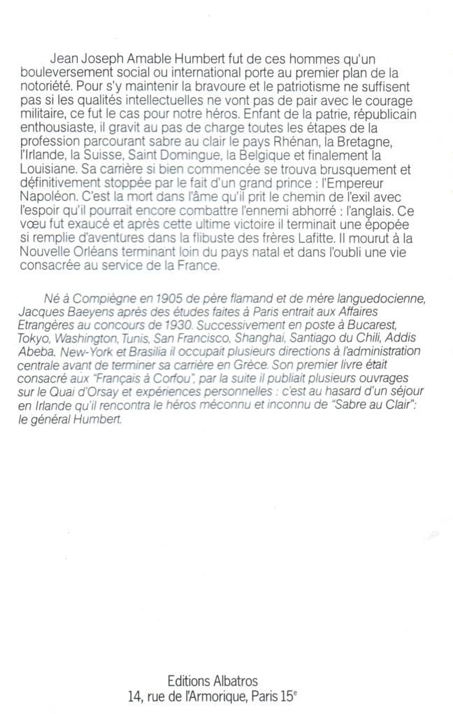 Sabre au Claire, le Amable Humbert, général de la République éditions Albatros