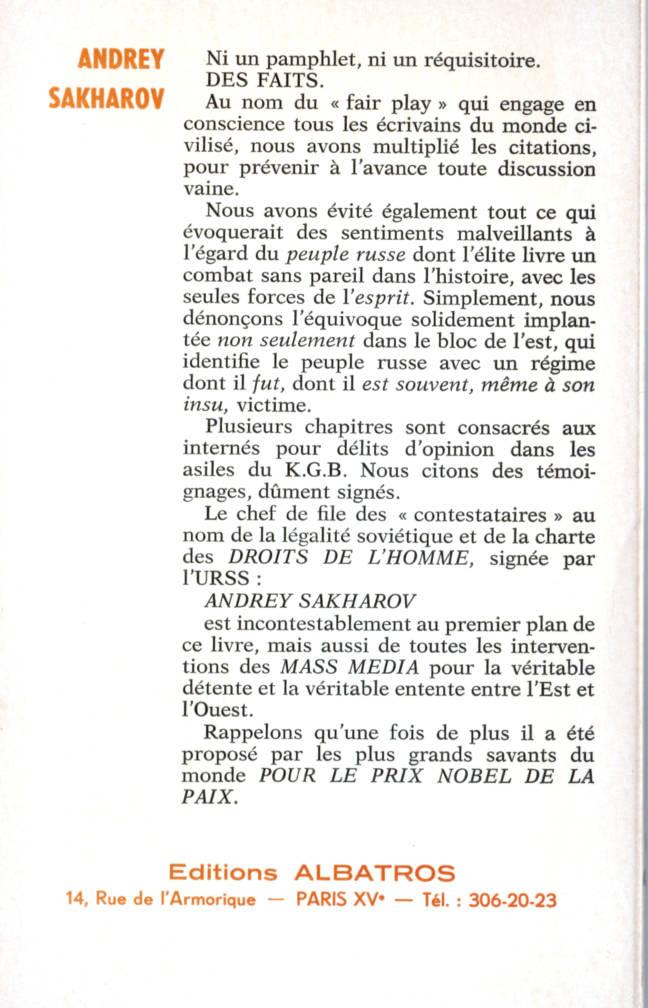 Andrej Sakharov et le combat pour les droits de l'homme en URSS édition Albatros