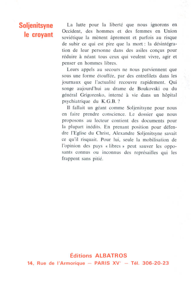 Soljenitsyne le croyant éditions Albatros